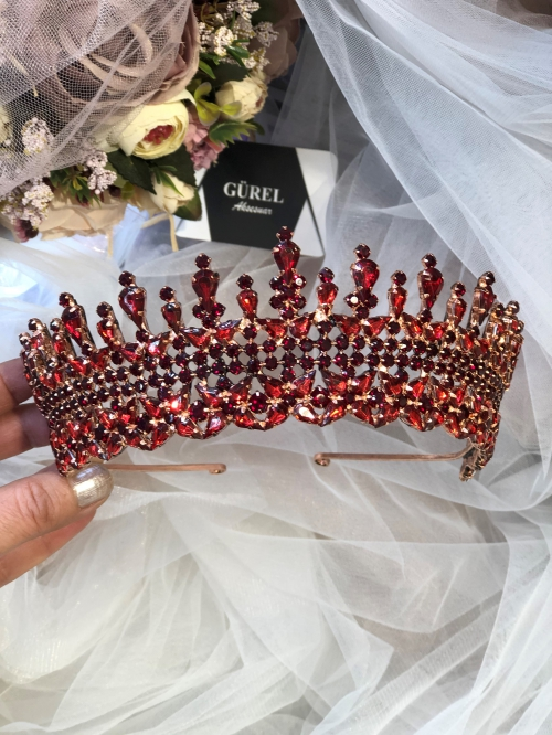 Crystal Claret Red Tiara